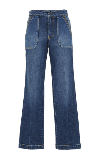 Medium rebecca taylor medium wash patchwork denim pant