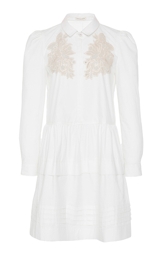 Medium rebecca taylor white long sleeve medallion lace poplin dress