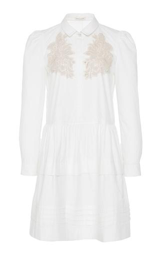 Medium rebecca taylor white long sleeve medallion lace poplin dress