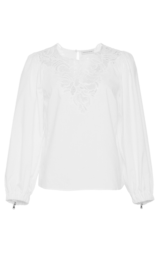 Medium rebecca taylor white long sleeve medallion lace poplin top