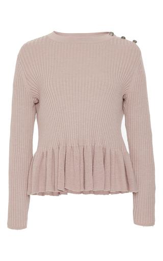 Medium rebecca taylor pink ribbed peplum pullover