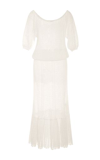Medium red valentino white off the shoulder knit peasant dress