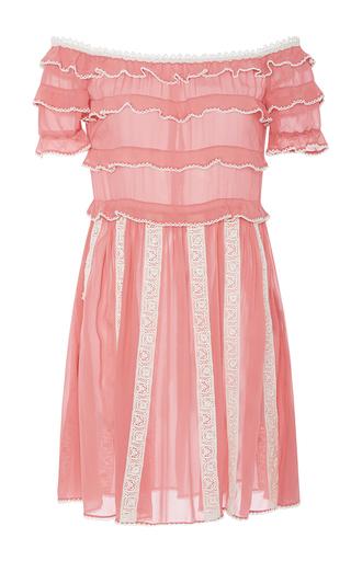 Medium red valentino pink off the shoulder ruffled short dress