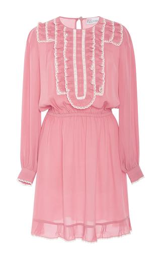 Medium red valentino pink ruffle front silk georgette short dress