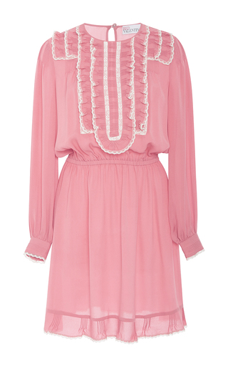 Medium red valentino pink ruffle front silk georgette short dress
