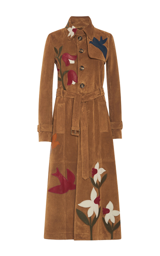 Medium red valentino tan suede trench coat