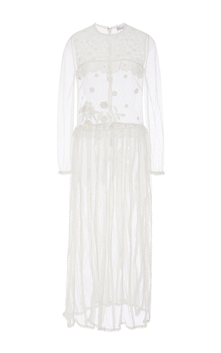 Medium red valentino white floral macrame long tulle dress