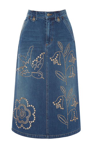 Medium red valentino blue macroflower studded denim skirt
