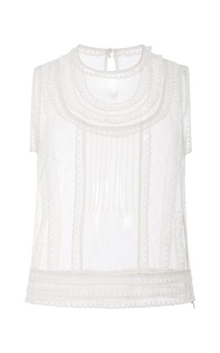 Medium red valentino ivory sleeveless point d espirit blouse