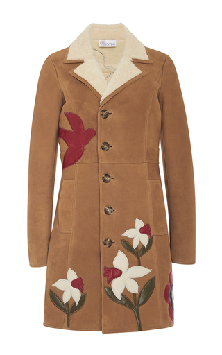 Medium red valentino tan macroflower suede coat with shearling collar