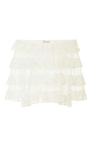Medium red valentino ivory ruffled lace off the shoulder top
