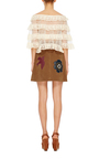 Suede Macroflower Embroidered Skirt by RED VALENTINO Now Available on Moda Operandi