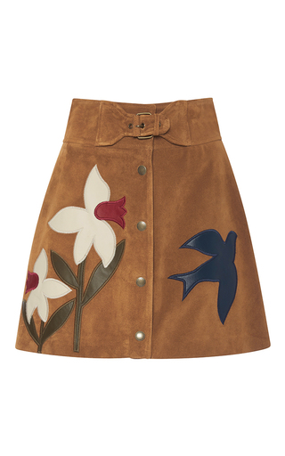 Medium red valentino brown suede macroflower embroidered skirt