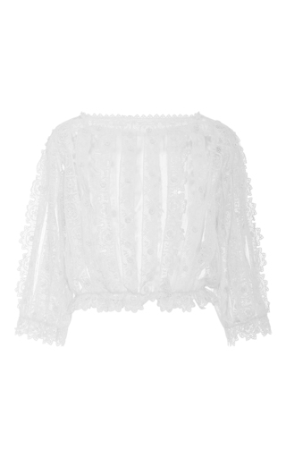 Medium red valentino ivory ruffled lace cropped top