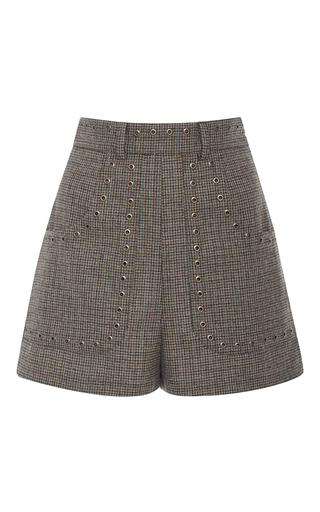 Medium red valentino brown embellished high waist tweed shorts