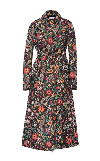 Medium red valentino black fancy flower jacquard coat