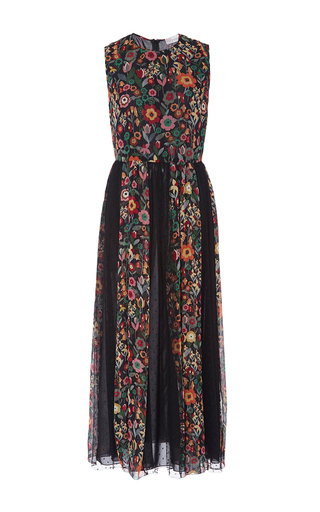Medium red valentino black fancy flower silk crepe dress