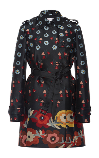 Medium red valentino black flower border jacquard trench coat