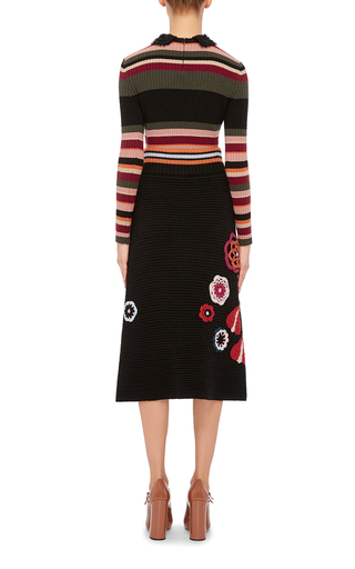 Floral Knit Appliqué Skirt by RED VALENTINO Now Available on Moda Operandi