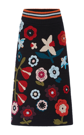 Medium red valentino black floral knit applique skirt
