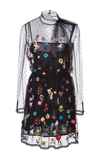 Medium red valentino black fancy flower embroidered point d espirit short dress
