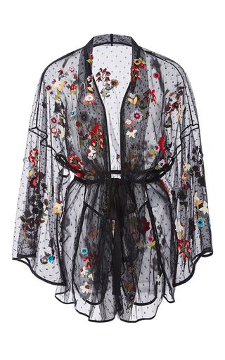 Medium red valentino black fancy flower embroidered point d espirit kimono