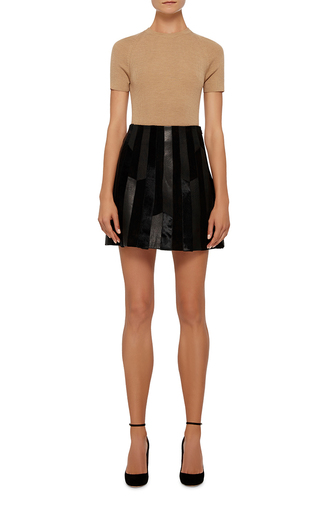 Pleated Patch Leather Skirt by DEREK LAM 10 CROSBY Now Available on Moda Operandi