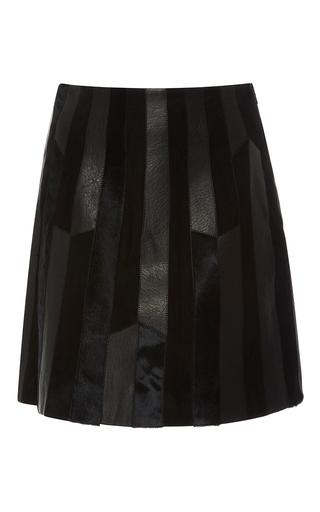 Medium derek lam 10 crosby black patchwork pleated leather skirt