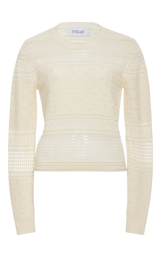 Medium derek lam 10 crosby neutral silk wool knit pullover