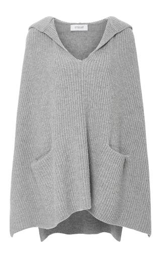 Medium derek lam 10 crosby dark grey cashmere wool ribbed poncho