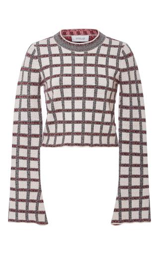 Medium derek lam 10 crosby plaid bell sleeved cropped sweater