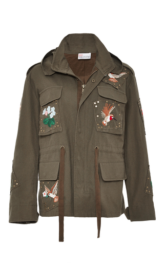 Medium red valentino green embroidered cargo jacket