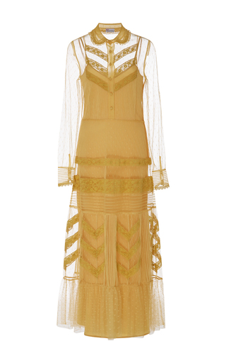 Medium red valentino yellow macrame embroidered ribbon dress