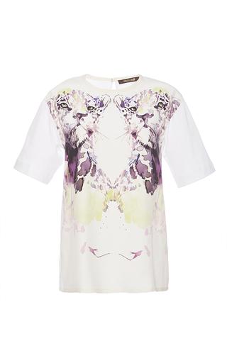 Medium roberto cavalli multi white and purple enverse satin t shirt