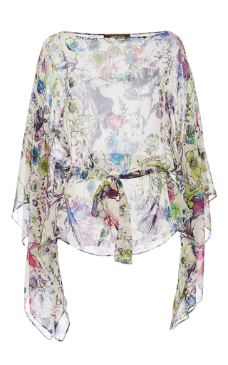 Floral Printed Silk Blouse by ROBERTO CAVALLI Now Available on Moda Operandi