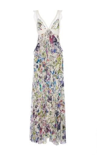 Medium roberto cavalli floral white multi astro garden georgette dress