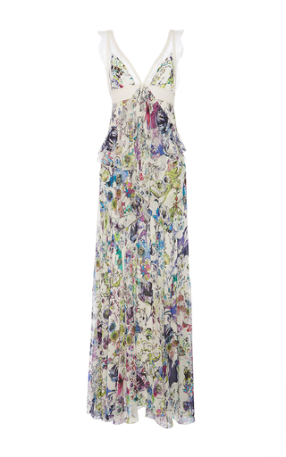 Medium roberto cavalli floral white multi astro garden georgette dress