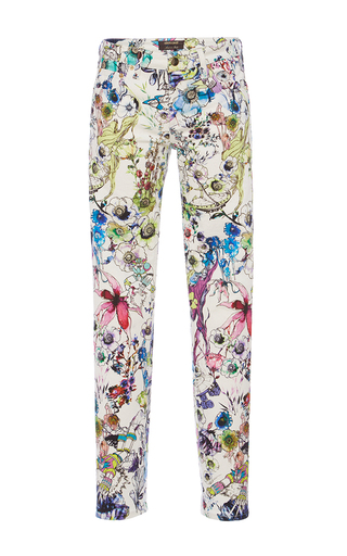 Medium roberto cavalli floral white multi drill stretch trousers