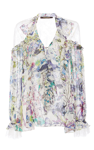 Medium roberto cavalli floral white multi astro garden georgette shirt