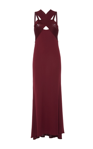 Medium roberto cavalli burgundy jersey cross neck gown