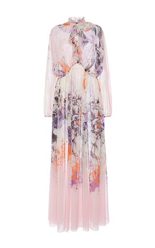 Floral Silk Chiffon Dress by ROBERTO CAVALLI Now Available on Moda Operandi