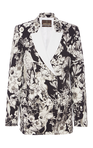 Medium roberto cavalli floral black white astro garden viscose cady stretch jacket