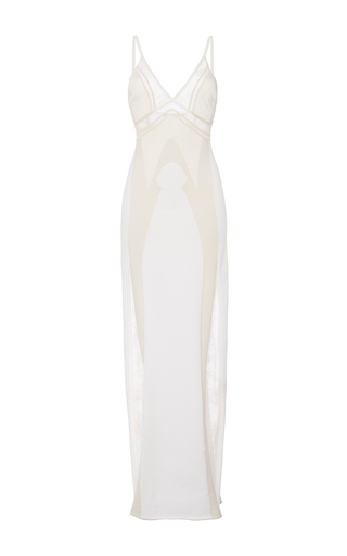Medium roberto cavalli white optical mother of pearl lace inlay knit dress