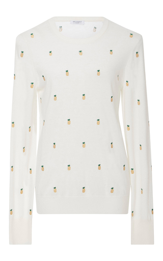 Medium equipment ivory shane pineapple embroidered sweater