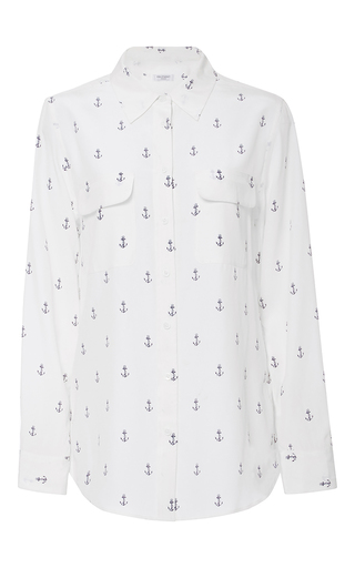 Medium equipment print anchor printed silk shirt