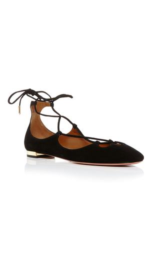 Medium aquazzura black dancer lace up flats