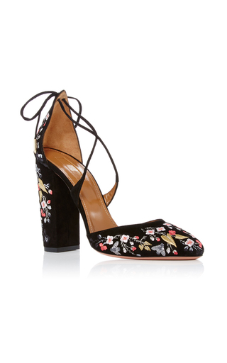 Medium aquazzura black karlie embroidered suede pumps