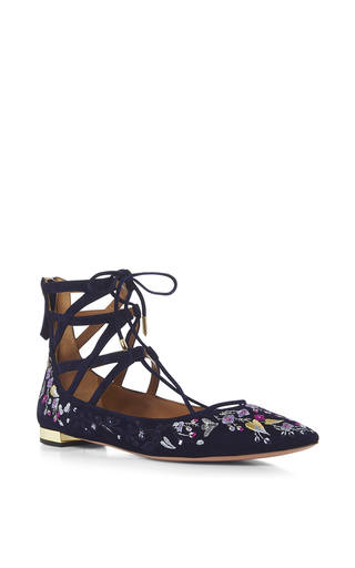 Belgravia Embroidered Suede Flats by AQUAZZURA Now Available on Moda Operandi