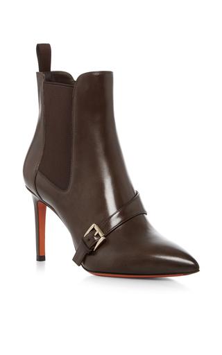 Medium santoni brown buckle strap ankle boot