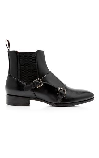 Medium santoni black double monk ankle boot